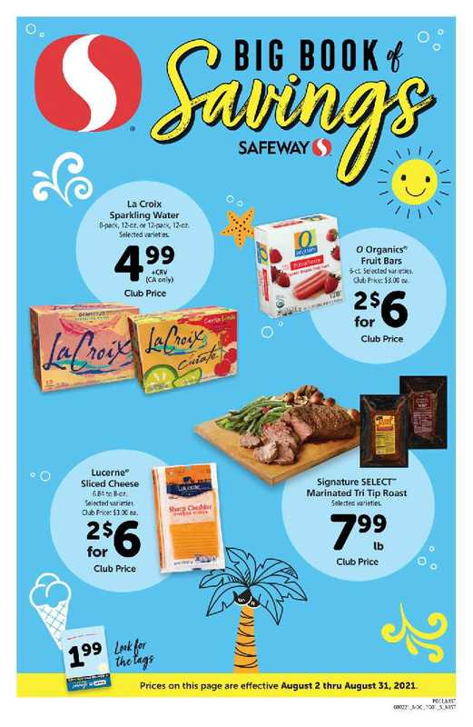 Safeway - deals are valid from 08/02/21 to 08/31/21 - page 1.