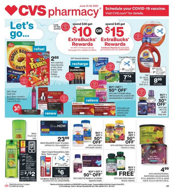 CVS - deals are valid from 06/13/21 to 06/19/21 - page 1.