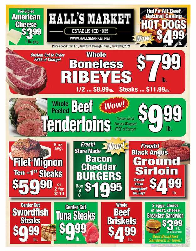 Hall's Market - deals are valid from 07/23/21 to 07/29/21 - page 1.