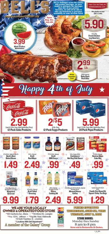 Bell's Food Store - deals are valid from 06/30/21 to 07/06/21 - page 1.