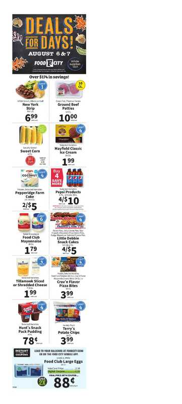 Food City - deals are valid from 08/04/21 to 08/10/21 - page 1.