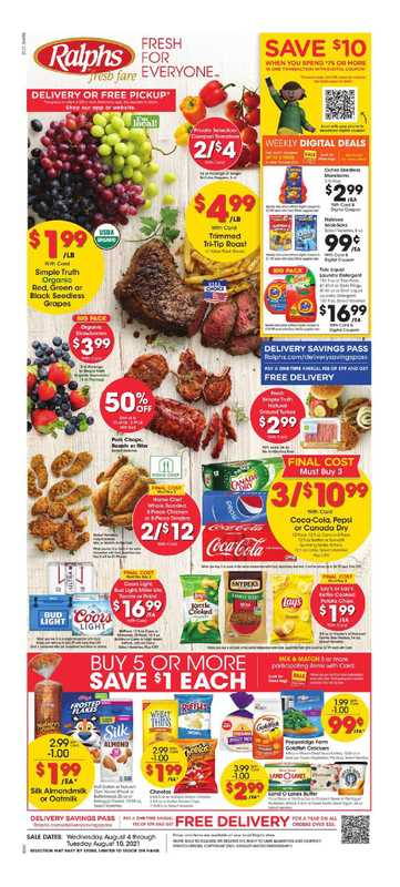 Ralphs - deals are valid from 08/04/21 to 08/10/21 - page 1.