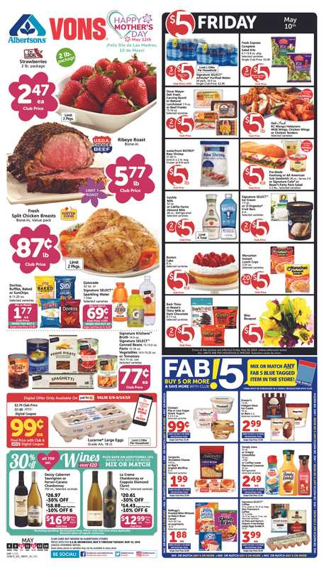 Vons - deals are valid from 05/08/19 to 05/14/19 - page 1.