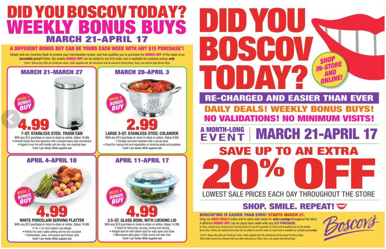 Boscov's - deals are valid from 03/21/21 to 04/17/21 - page 1.