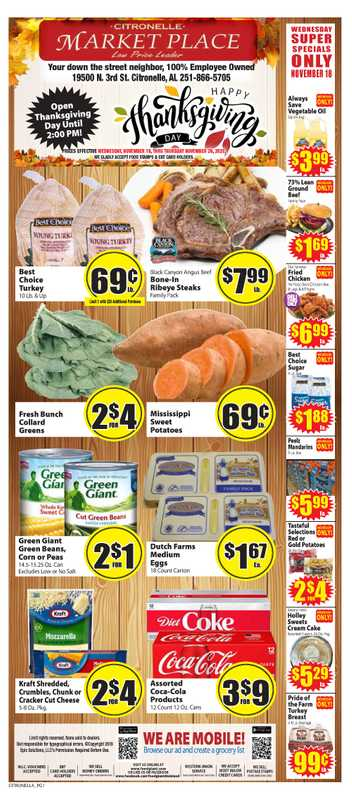 Market Place - deals are valid from 11/18/20 to 11/26/20 - page 1.