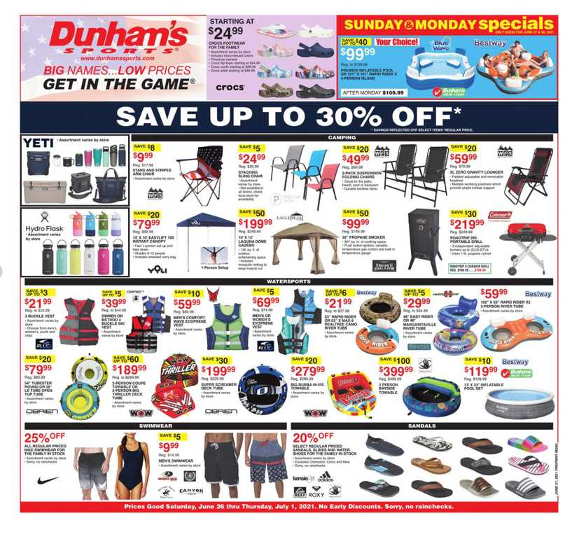 Dunham's Sports - deals are valid from 06/26/21 to 07/01/21 - page 1.