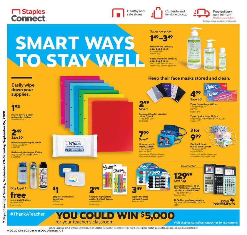 Staples - deals are valid from 09/20/20 to 09/26/20 - page 1.