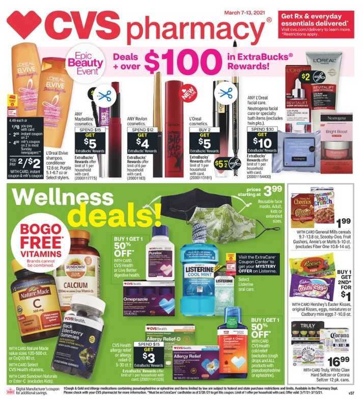 CVS - deals are valid from 03/07/21 to 03/14/21 - page 1.