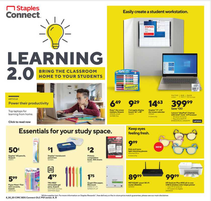 Staples - deals are valid from 08/30/20 to 09/05/20 - page 1.