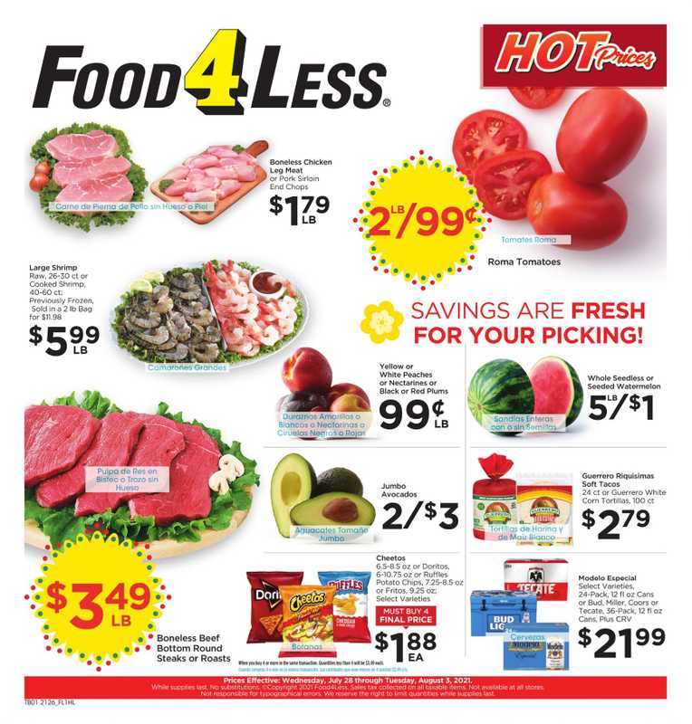 Food 4 Less - deals are valid from 07/28/21 to 08/03/21 - page 1.