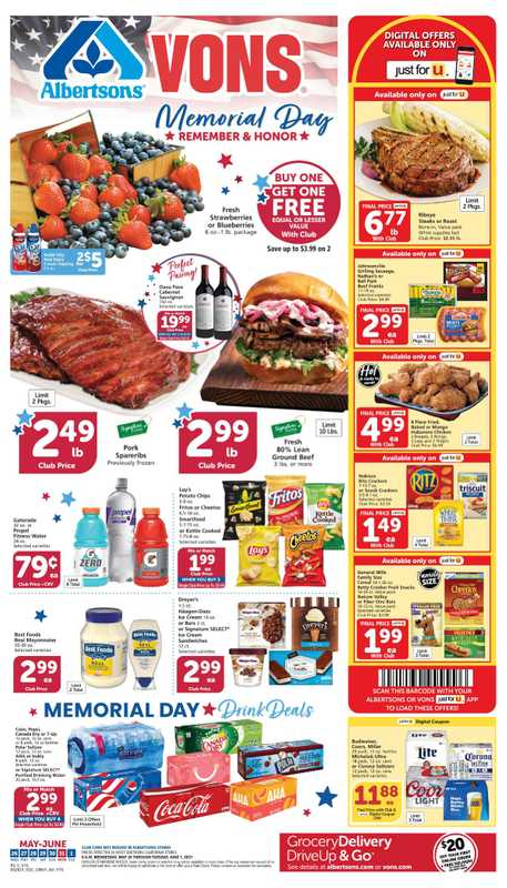 Vons - deals are valid from 05/26/21 to 06/01/21 - page 1.