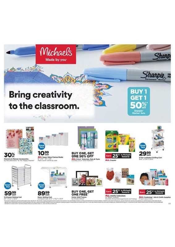 Michaels - deals are valid from 08/01/21 to 08/07/21 - page 1.