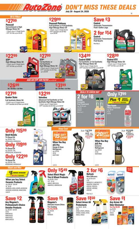 AutoZone - deals are valid from 07/28/20 to 08/24/20 - page 1.
