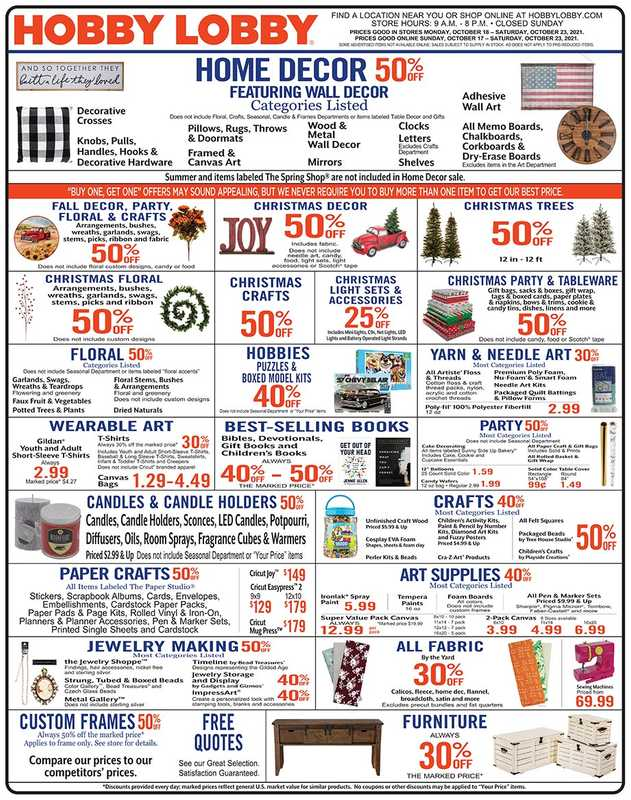 Hobby Lobby - deals are valid from 10/17/21 to 10/23/21 - page 1.