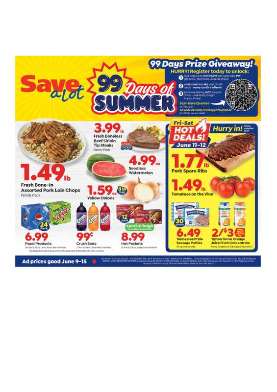 Save-A-Lot - deals are valid from 06/09/21 to 06/15/21 - page 1.