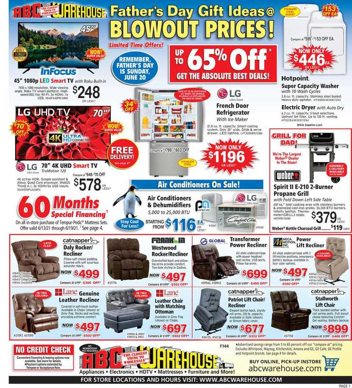 ABC Warehouse - deals are valid from 06/13/21 to 06/19/21 - page 1.