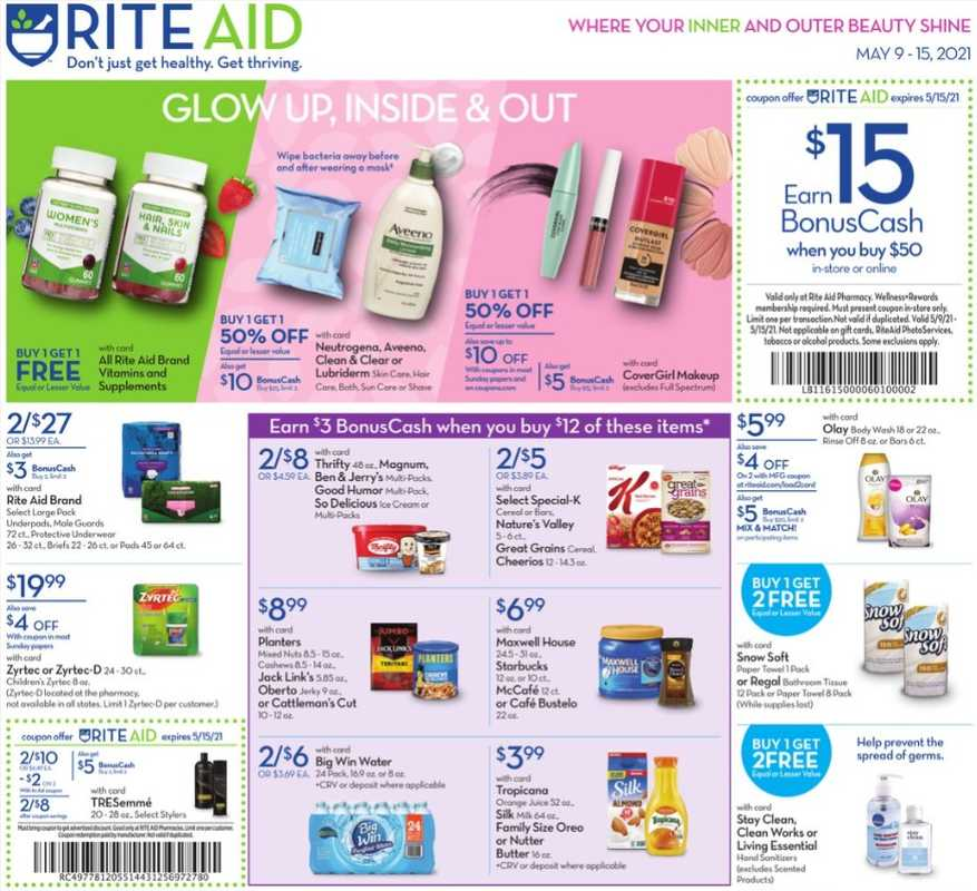 Rite Aid - deals are valid from 05/09/21 to 05/15/21 - page 1.