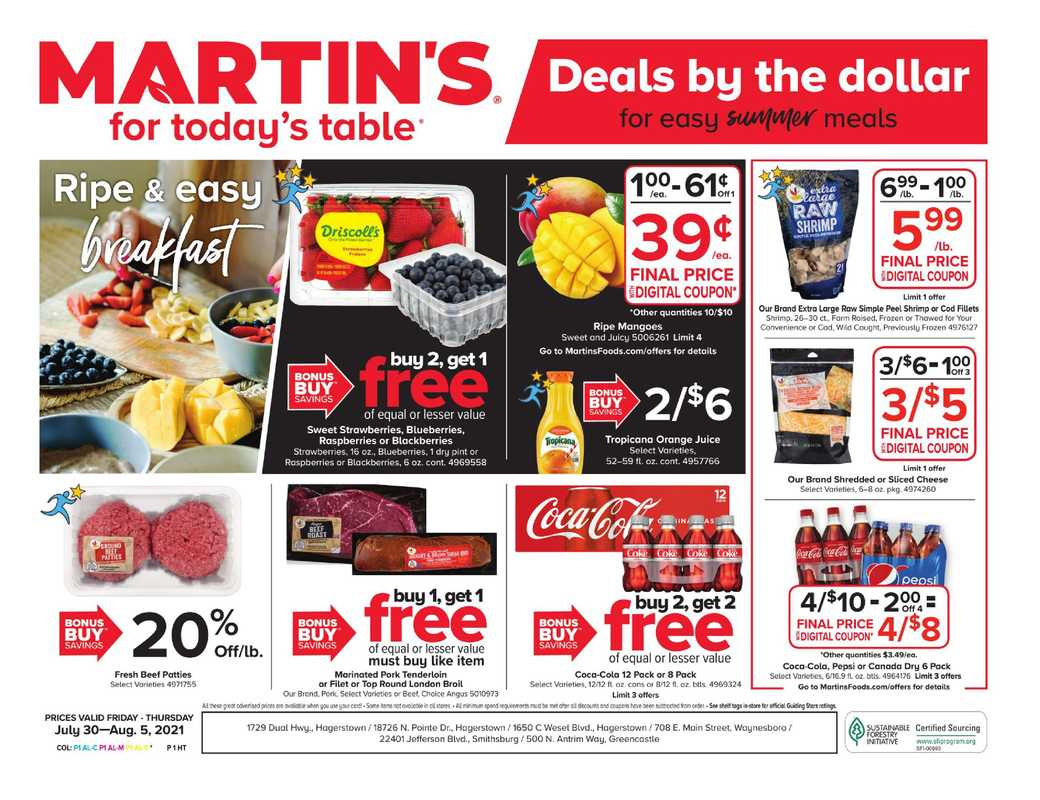Martin's - deals are valid from 07/30/21 to 08/05/21 - page 1.