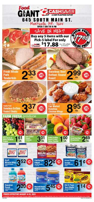 Food Giant - deals are valid from 08/04/21 to 08/10/21 - page 1.