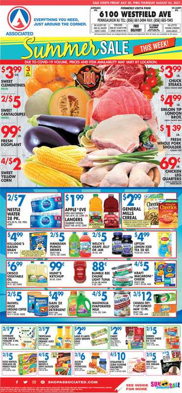 Associated Supermarkets - deals are valid from 07/30/21 to 08/05/21 - page 1.
