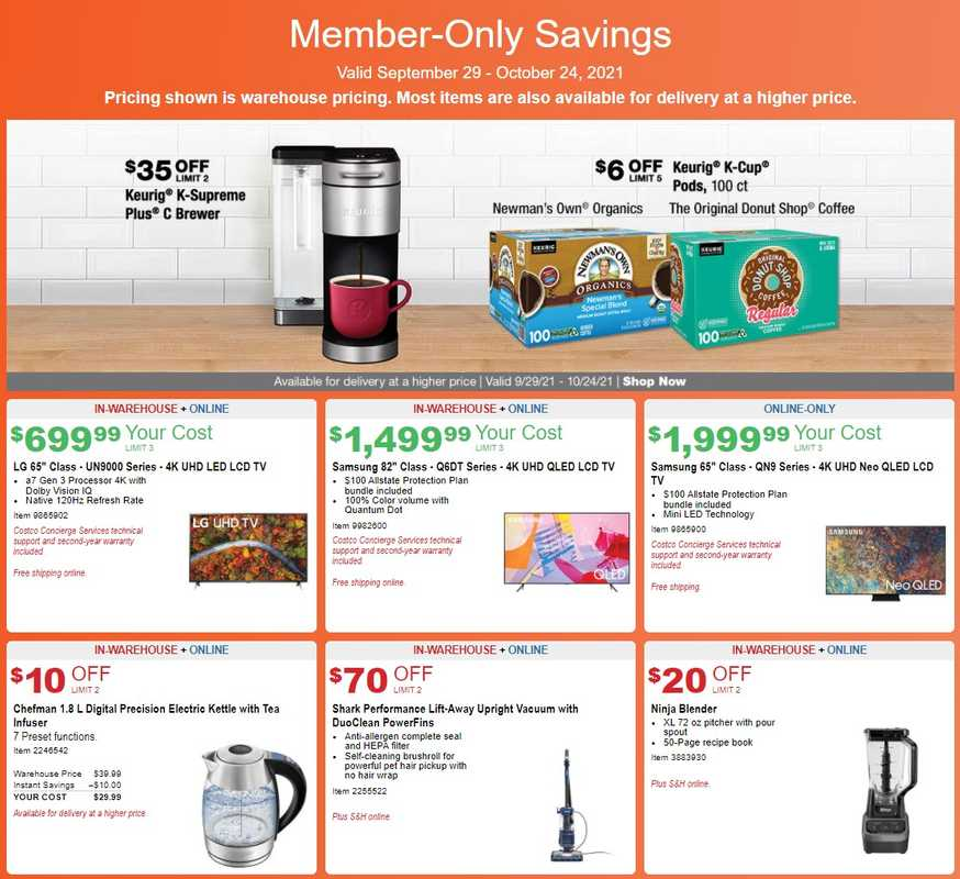 Costco - deals are valid from 09/29/21 to 10/24/21 - page 1.