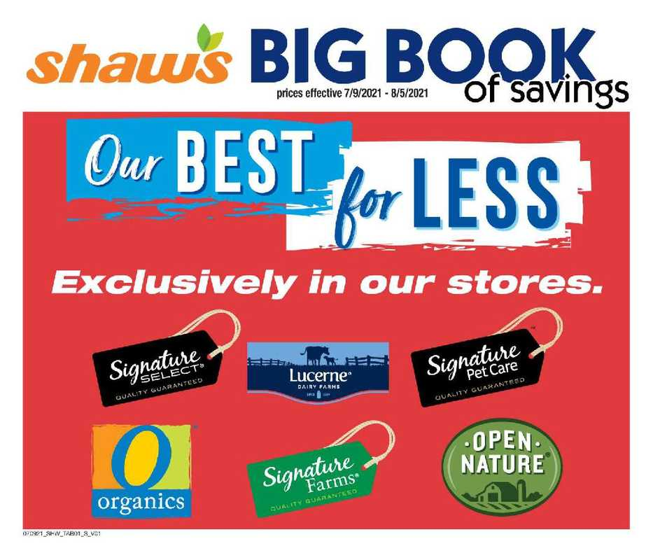 Shaw's - deals are valid from 07/09/21 to 08/05/21 - page 1.