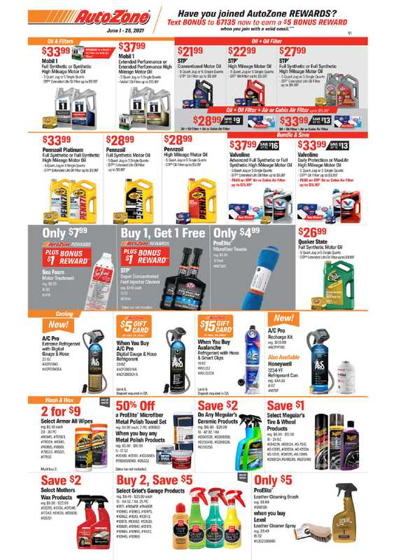 AutoZone - deals are valid from 06/01/21 to 06/28/21 - page 1.
