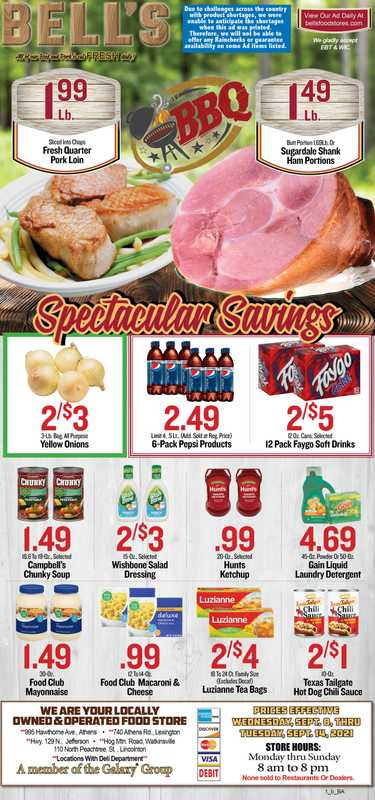 Bell's Food Store - deals are valid from 09/15/21 to 09/21/21 - page 1.