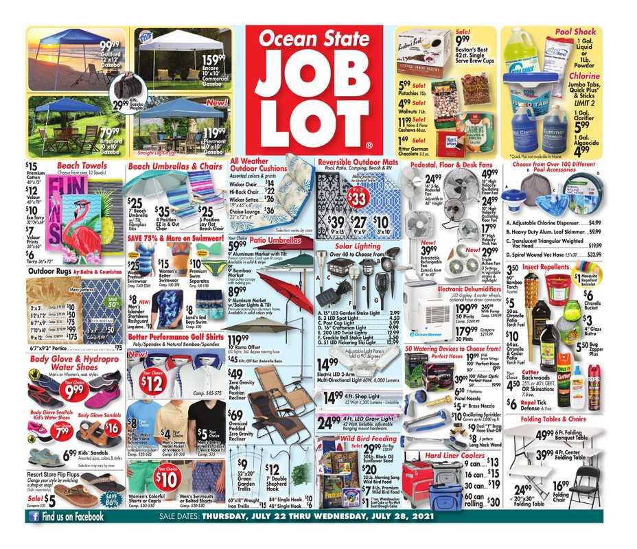 Ocean State Job Lot - deals are valid from 07/22/21 to 07/28/21 - page 1.