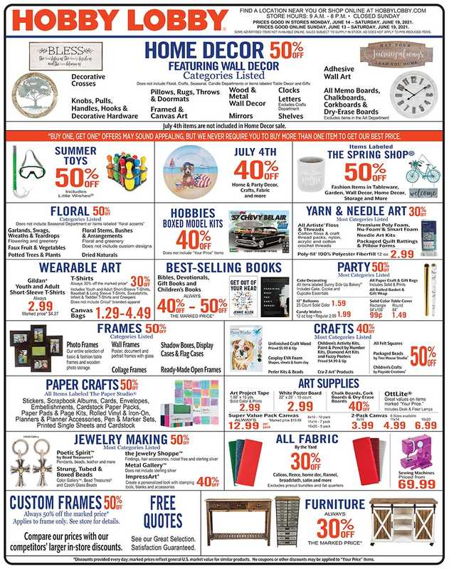 Hobby Lobby - deals are valid from 06/14/21 to 06/20/21 - page 1.