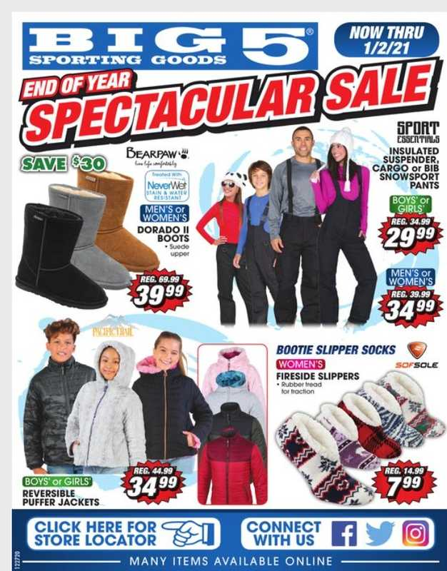 Big 5 Sporting Goods - deals are valid from 12/27/20 to 01/02/21 - page 1.