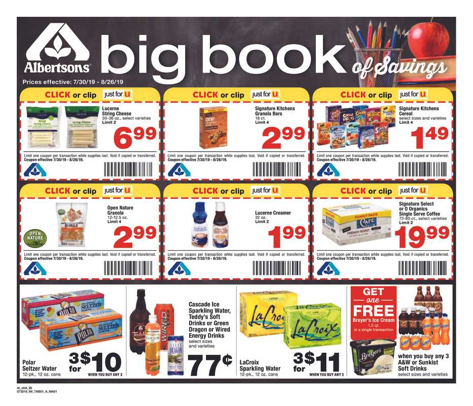 Albertsons - deals are valid from 07/30/19 to 08/26/19 - page 1.