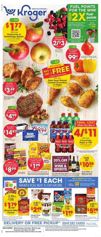 Kroger - deals are valid from 10/20/21 to 10/26/21 - page 1.