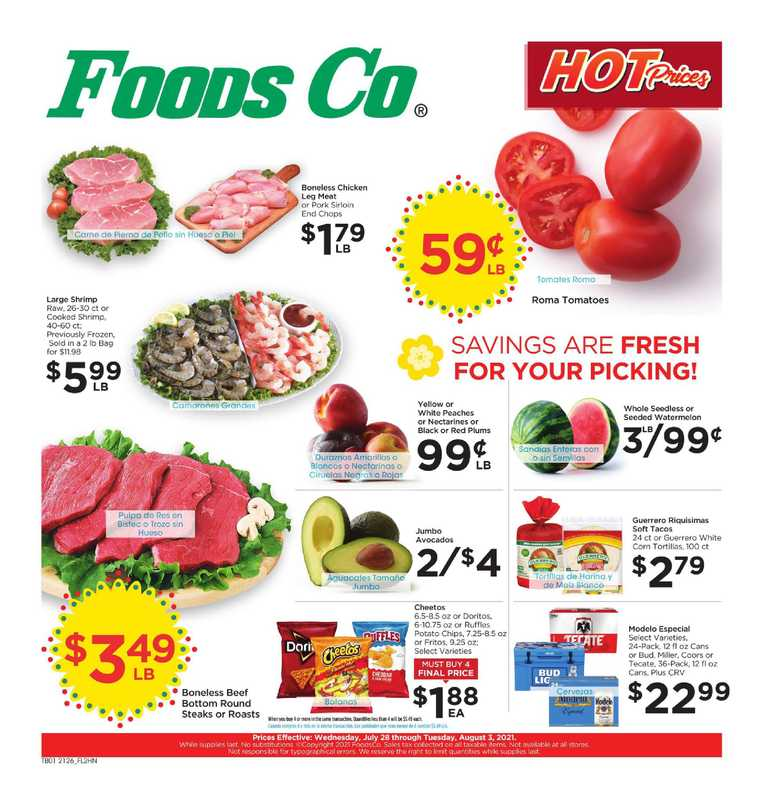 Foods Co. - deals are valid from 07/28/21 to 08/03/21 - page 1.