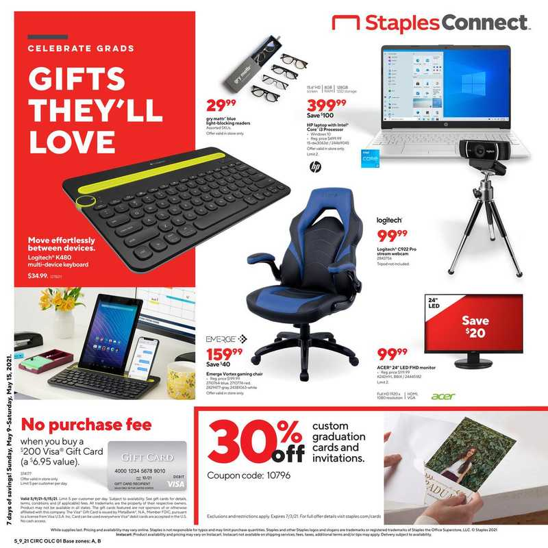 Staples - deals are valid from 05/09/21 to 05/15/21 - page 1.
