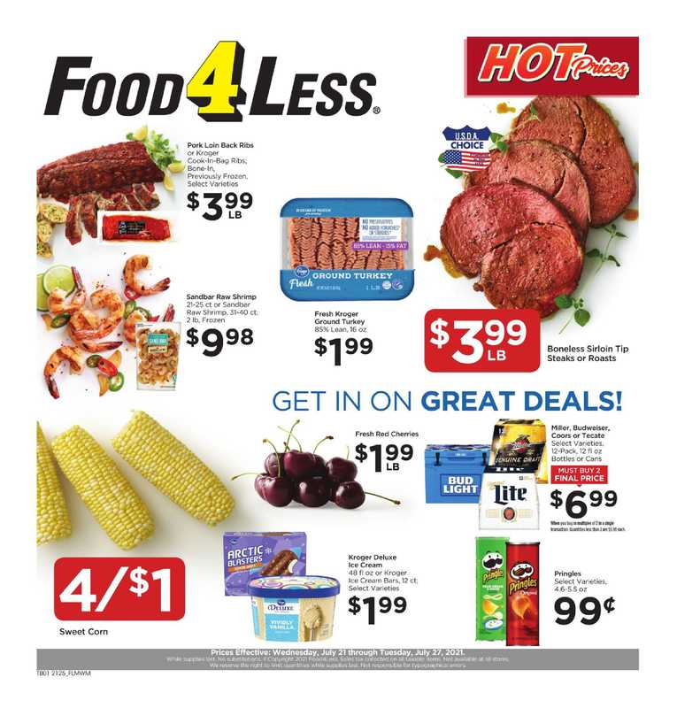 Food 4 Less - deals are valid from 07/21/21 to 07/27/21 - page 1.