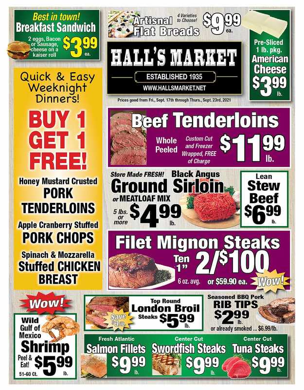 Hall's Market - deals are valid from 09/17/21 to 09/23/21 - page 1.