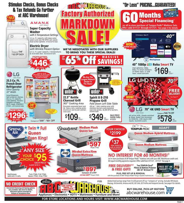 ABC Warehouse - deals are valid from 04/11/21 to 04/17/21 - page 1.
