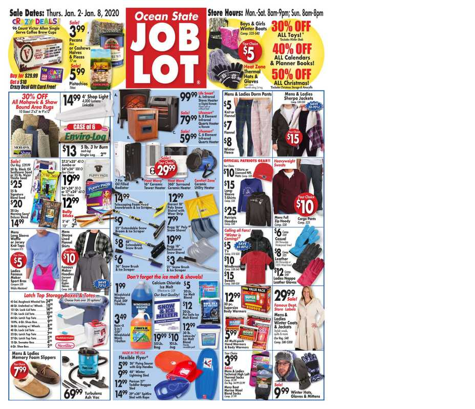 Ocean State Job Lot - deals are valid from 01/02/20 to 01/08/20 - page 1.
