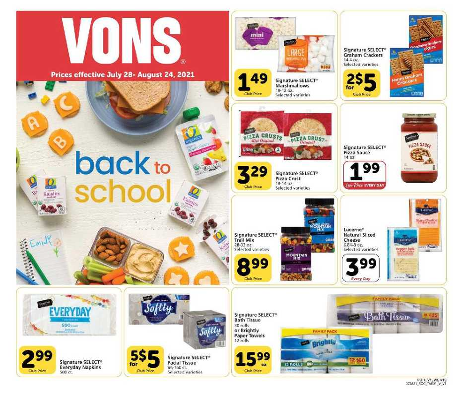 Vons - deals are valid from 07/28/21 to 08/24/21 - page 1.