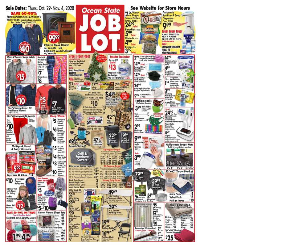 Ocean State Job Lot - deals are valid from 10/29/20 to 11/04/20 - page 1.