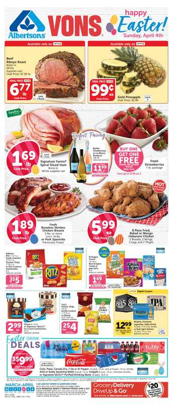 Vons - deals are valid from 03/31/21 to 04/06/21 - page 1.