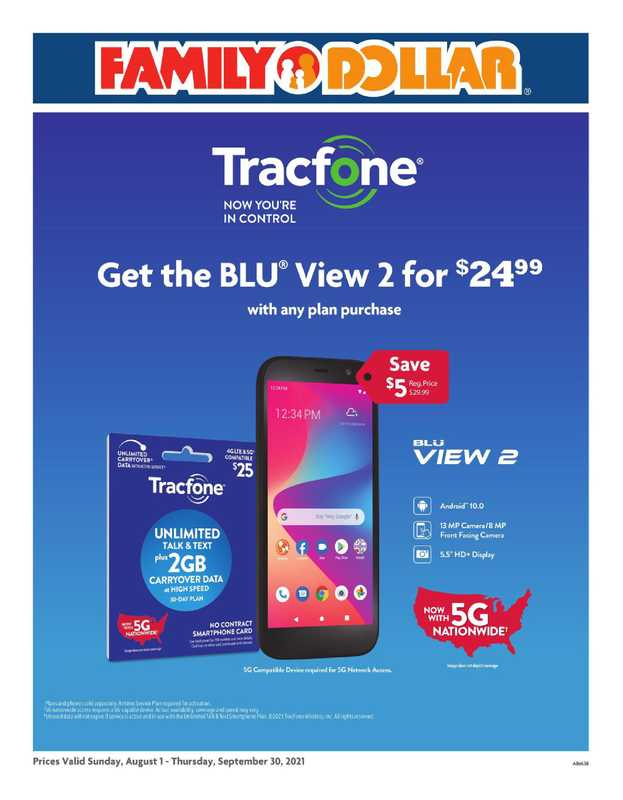 Family Dollar - deals are valid from 08/01/21 to 08/30/21 - page 1.
