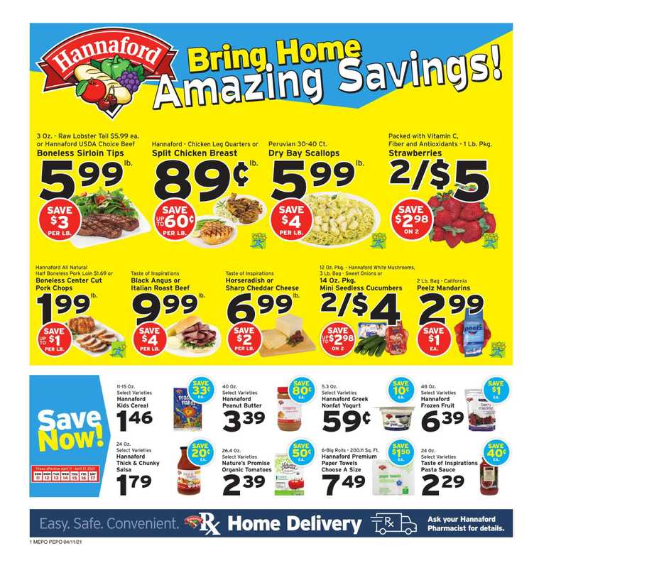 Hannaford - deals are valid from 04/11/21 to 04/17/21 - page 1.
