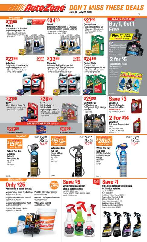 AutoZone - deals are valid from 06/30/20 to 07/27/20 - page 1.