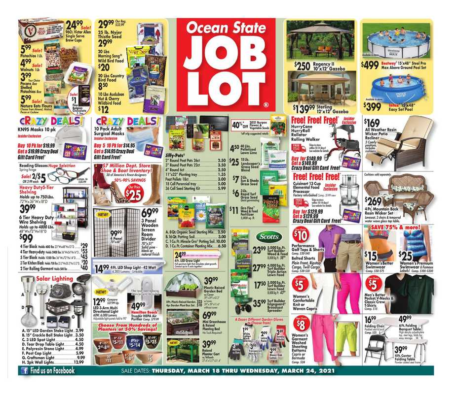 Ocean State Job Lot - deals are valid from 03/18/21 to 03/24/21 - page 1.