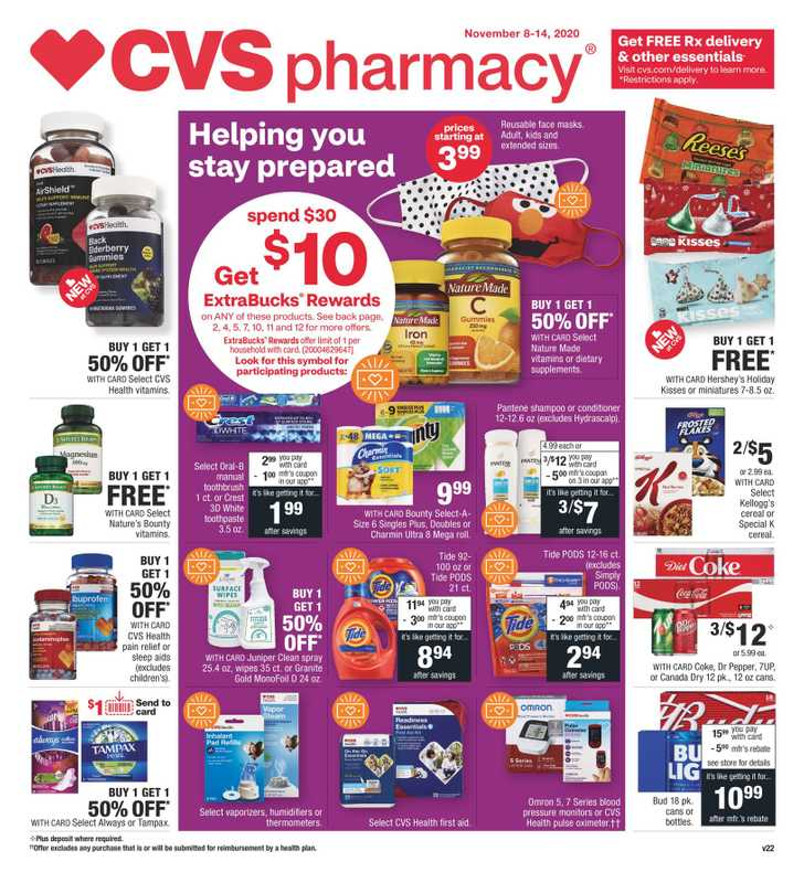 CVS - deals are valid from 11/08/20 to 11/14/20 - page 1.