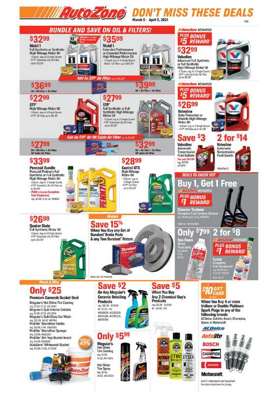 AutoZone - deals are valid from 03/09/21 to 04/05/21 - page 1.