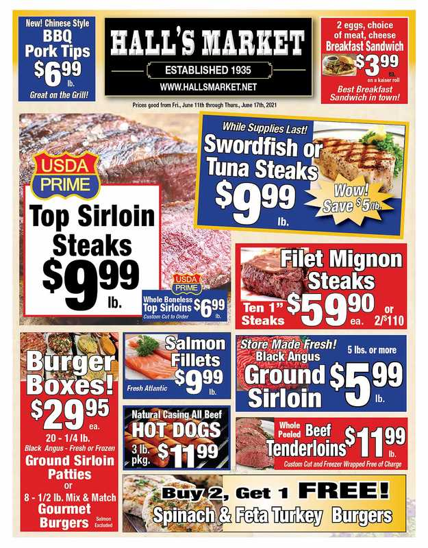 Hall's Market - deals are valid from 06/11/21 to 06/17/21 - page 1.