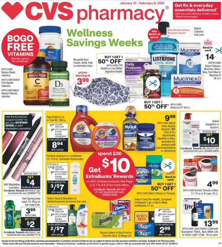 CVS - deals are valid from 01/31/21 to 02/07/21 - page 1.